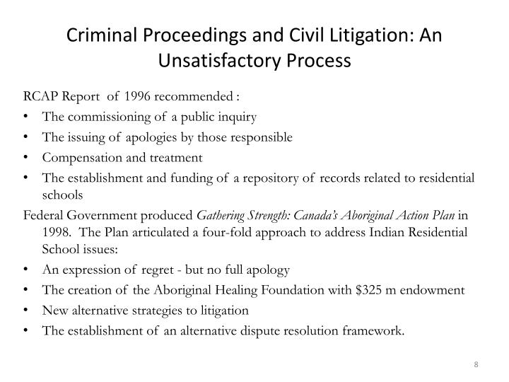 Criminal Proceedings and Civil Litigation: An Unsatisfactory Process