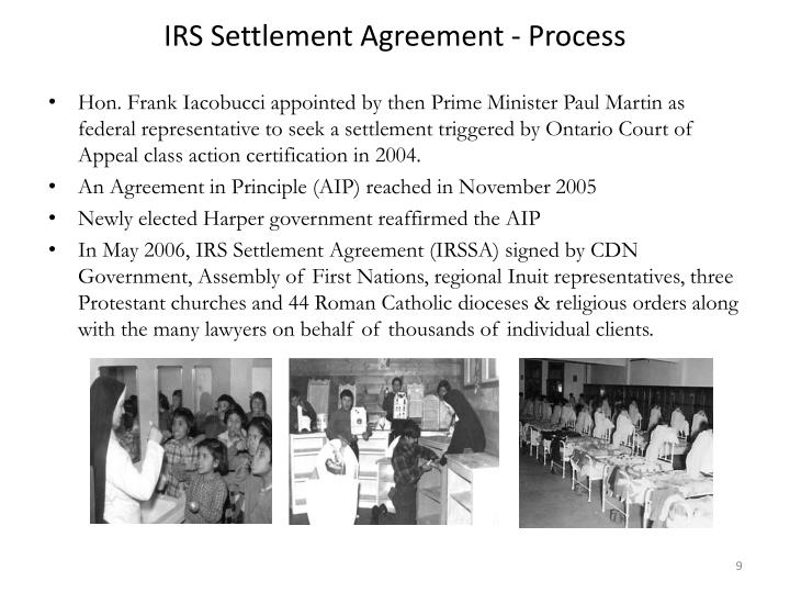 IRS Settlement Agreement - Process