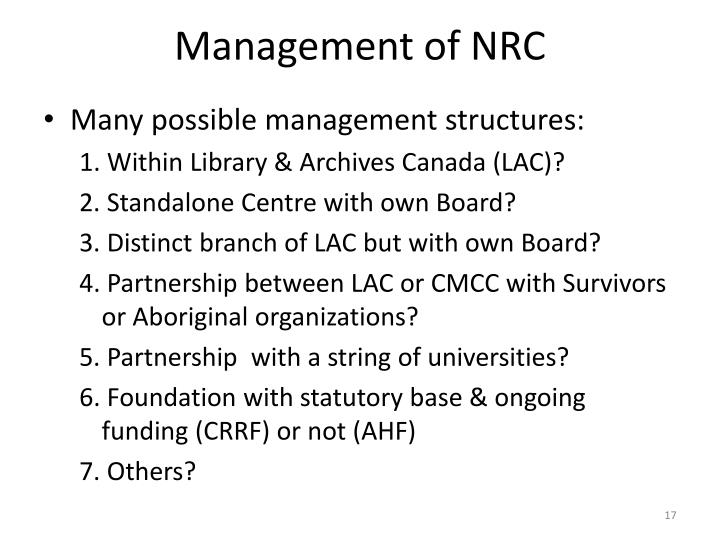 Management of NRC