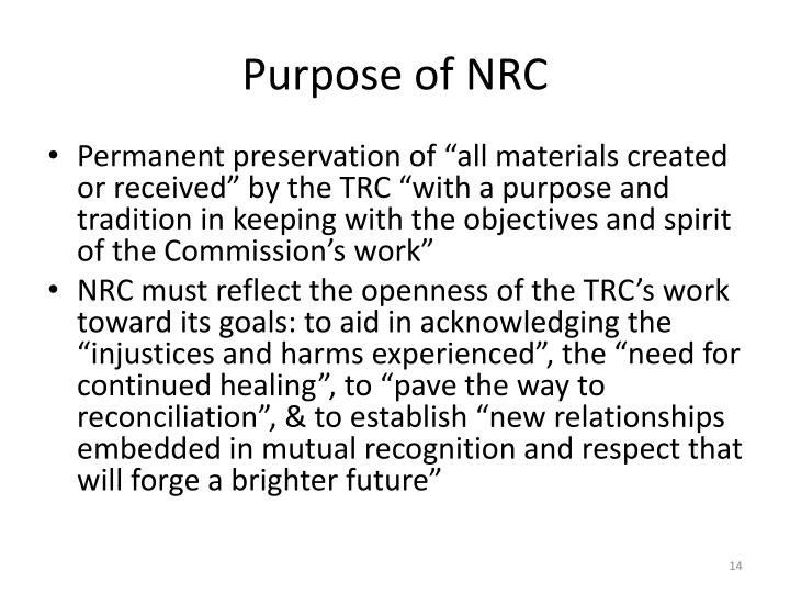 Purpose of NRC