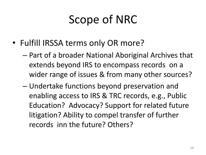 Scope of NRC