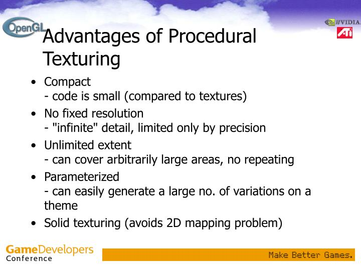 Advantages of Procedural Texturing