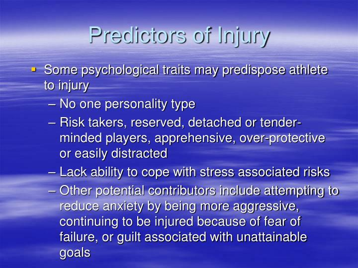 Predictors of Injury