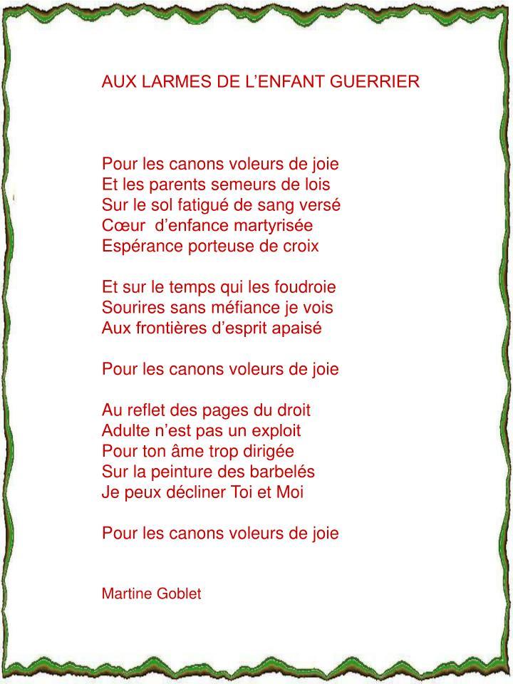 AUX LARMES DE L'ENFANT GUERRIER