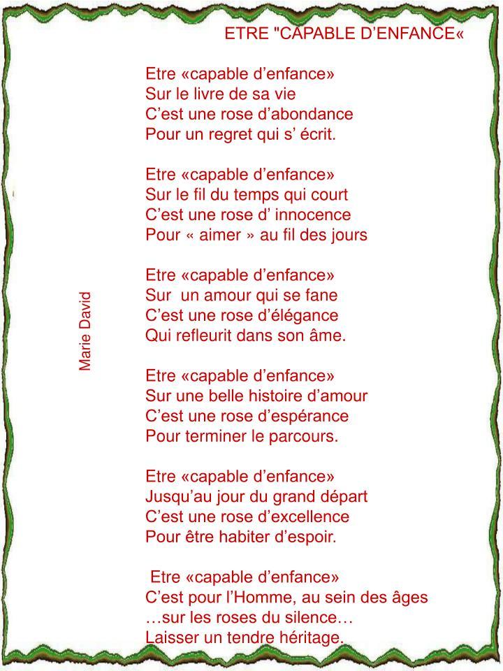 """ETRE """"CAPABLE D'ENFANCE«"""