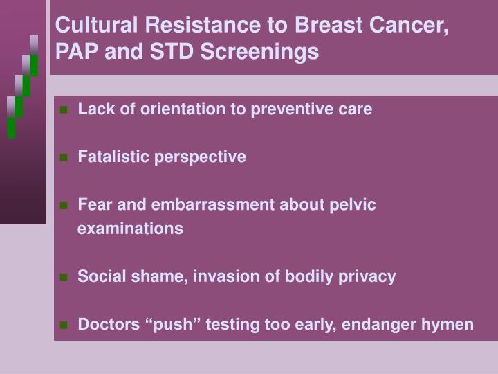 Cultural Resistance to Breast Cancer, PAP and STD Screenings