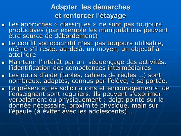 Adapter  les dmarches
