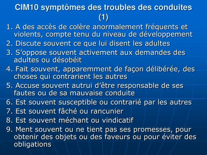 CIM10 symptmes des troubles des conduites (1)