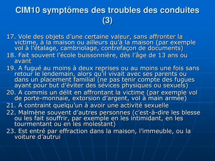 CIM10 symptômes des troubles des conduites (3)