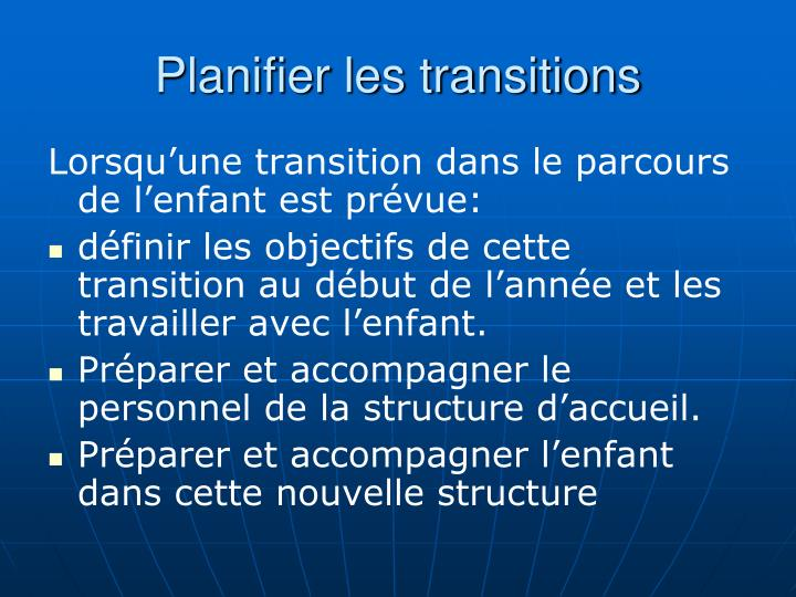 Planifier les transitions