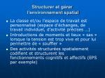 structurer et g rer l environnement spatial