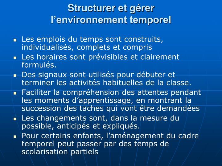 Structurer et gérer