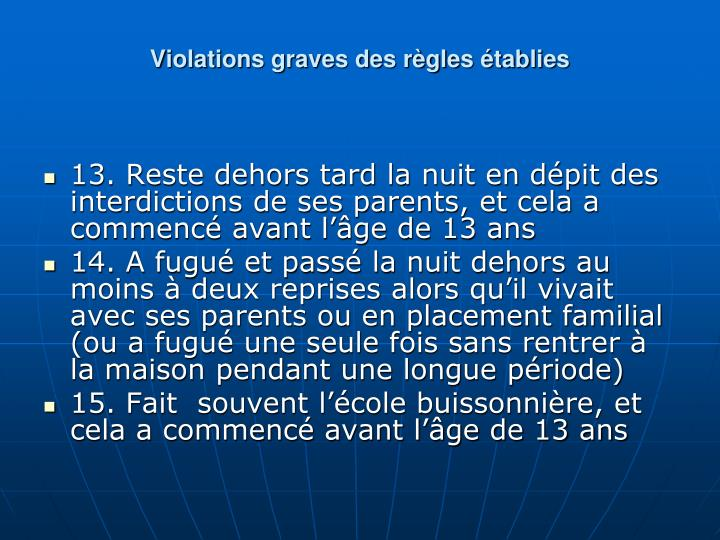 Violations graves des rgles tablies
