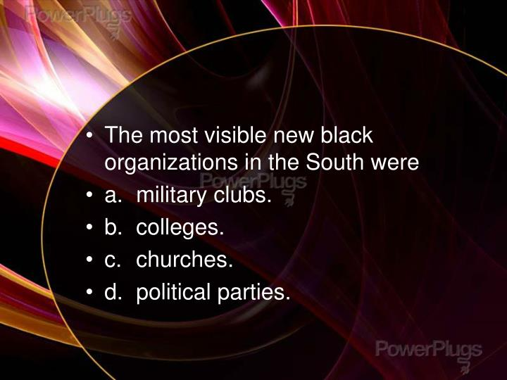 The most visible new black organizations in the South were