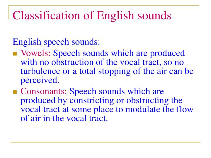 Classification of English sounds