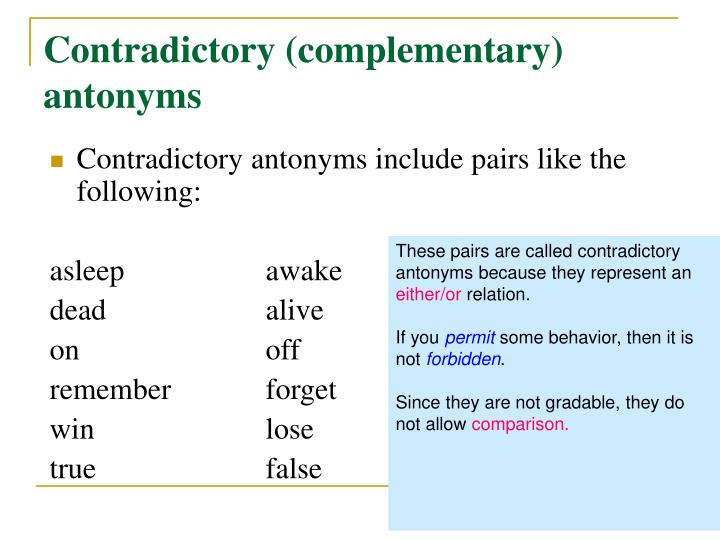 Contradictory (complementary) antonyms
