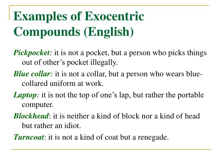 Examples of Exocentric Compounds (English)