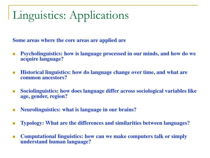 Linguistics: Applications
