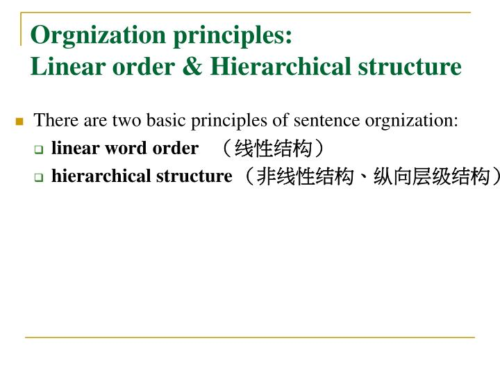 Orgnization principles: