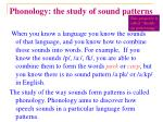 phonology the study of sound patterns