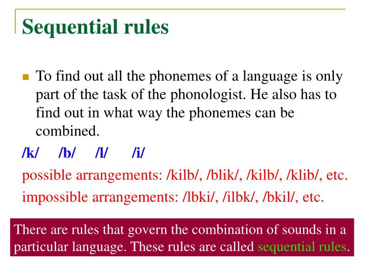 Sequential rules