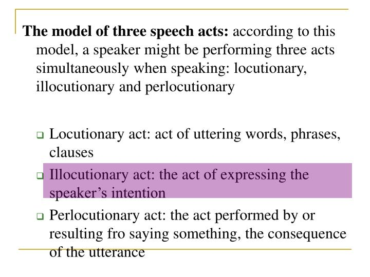 The model of three speech acts: