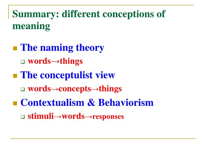 Summary: different conceptions of meaning