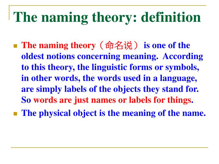 The naming theory