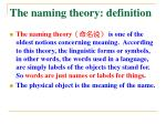 the naming theory d efinition