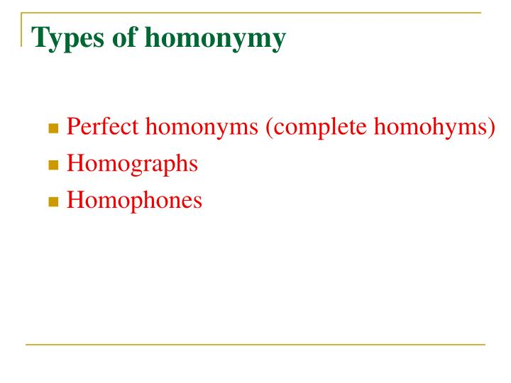 Types of homonymy