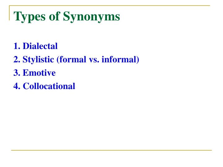 Types of Synonyms