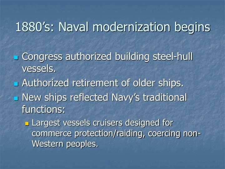 1880's: Naval modernization begins