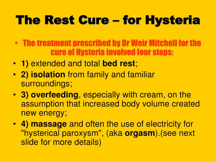 The Rest Cure – for Hysteria