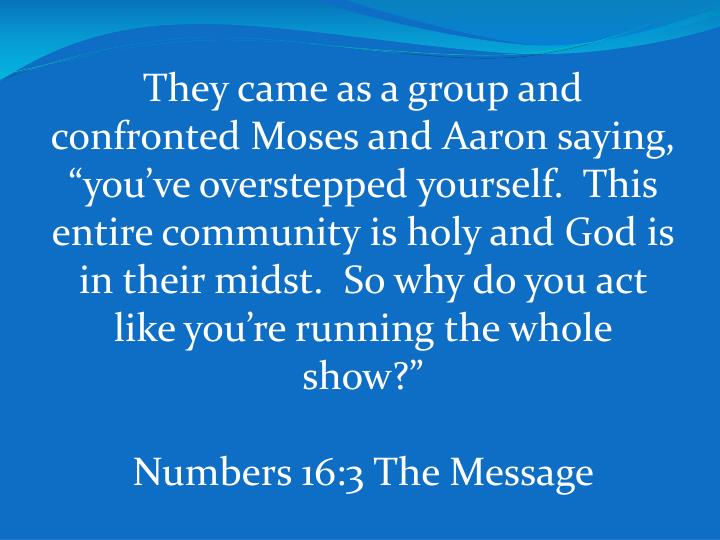 "They came as a group and confronted Moses and Aaron saying, ""you've overstepped yourself.  This entire community is holy and God is in their midst.  So why do you act like you're running the whole show?"""