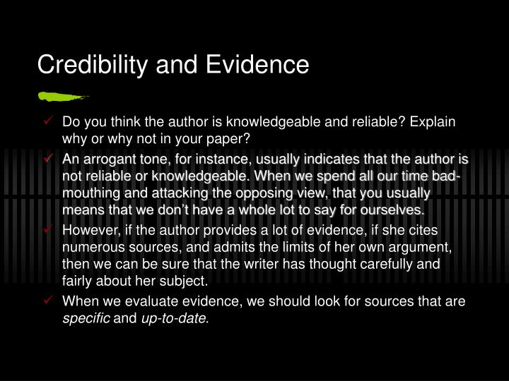 Credibility and Evidence