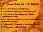 a special day to give thanks