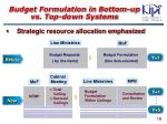 budget formulation in bottom up vs top down systems