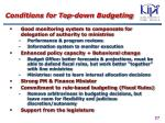 conditions for top down budgeting