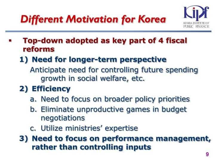 Different Motivation for Korea