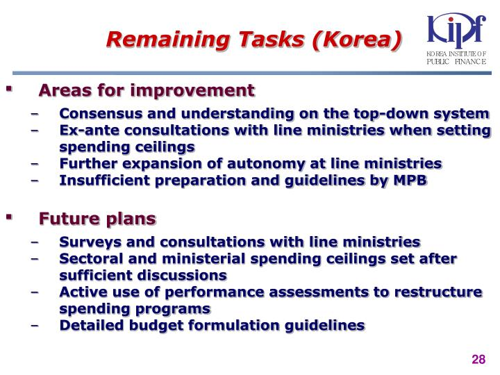 Remaining Tasks (Korea)