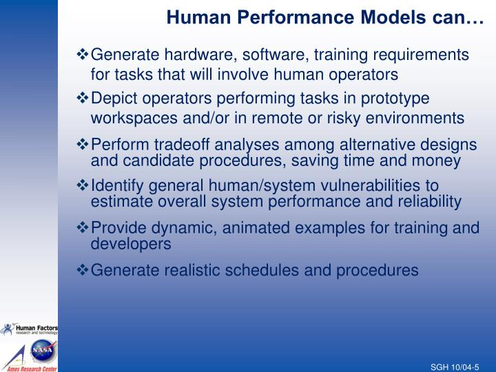 Human Performance Models can…