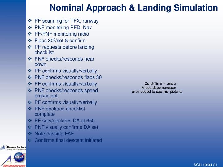 Nominal Approach & Landing Simulation