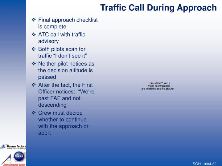Traffic Call During Approach