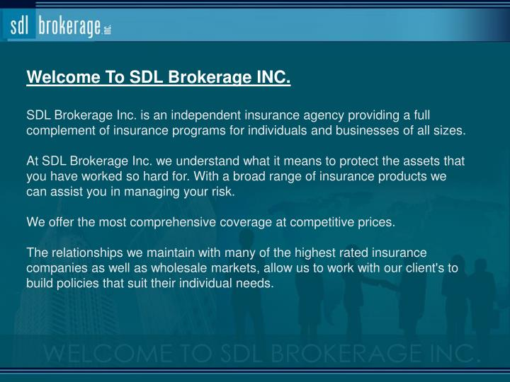 Welcome To SDL Brokerage INC.