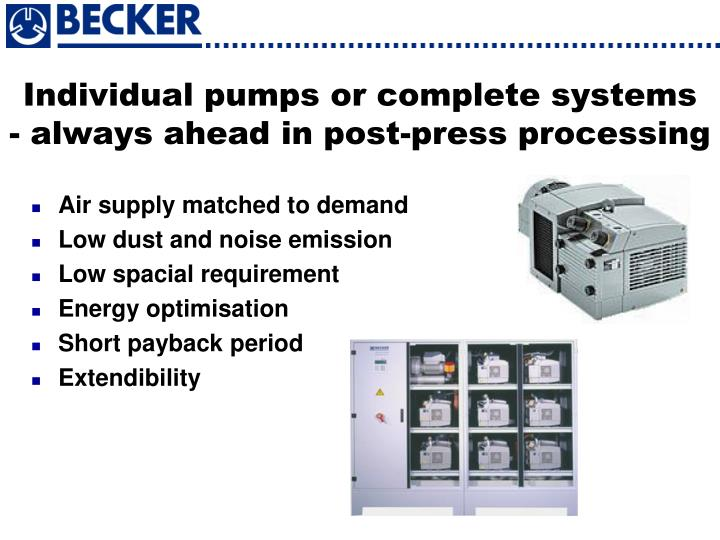 Individual pumps or complete systems
