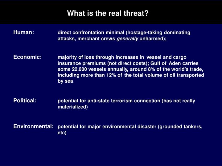 What is the real threat?