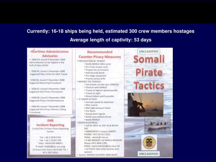 Currently: 16-18 ships being held, estimated 300 crew members hostages