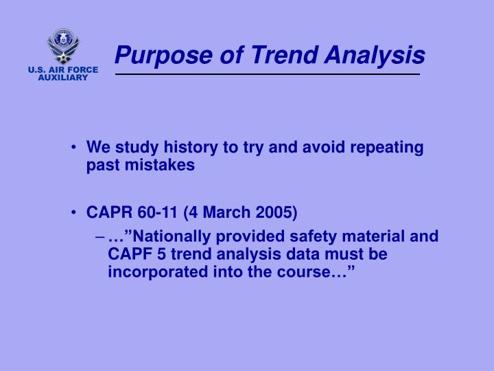 Purpose of trend analysis