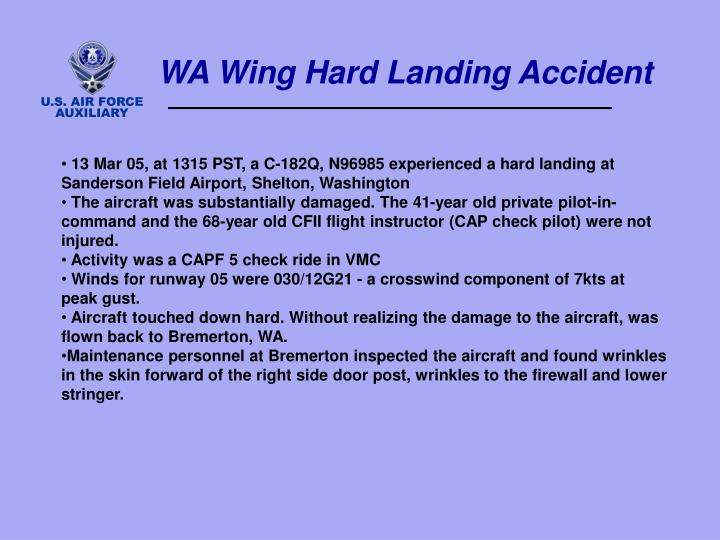 WA Wing Hard Landing Accident