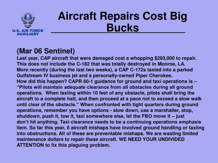 Aircraft Repairs Cost Big Bucks